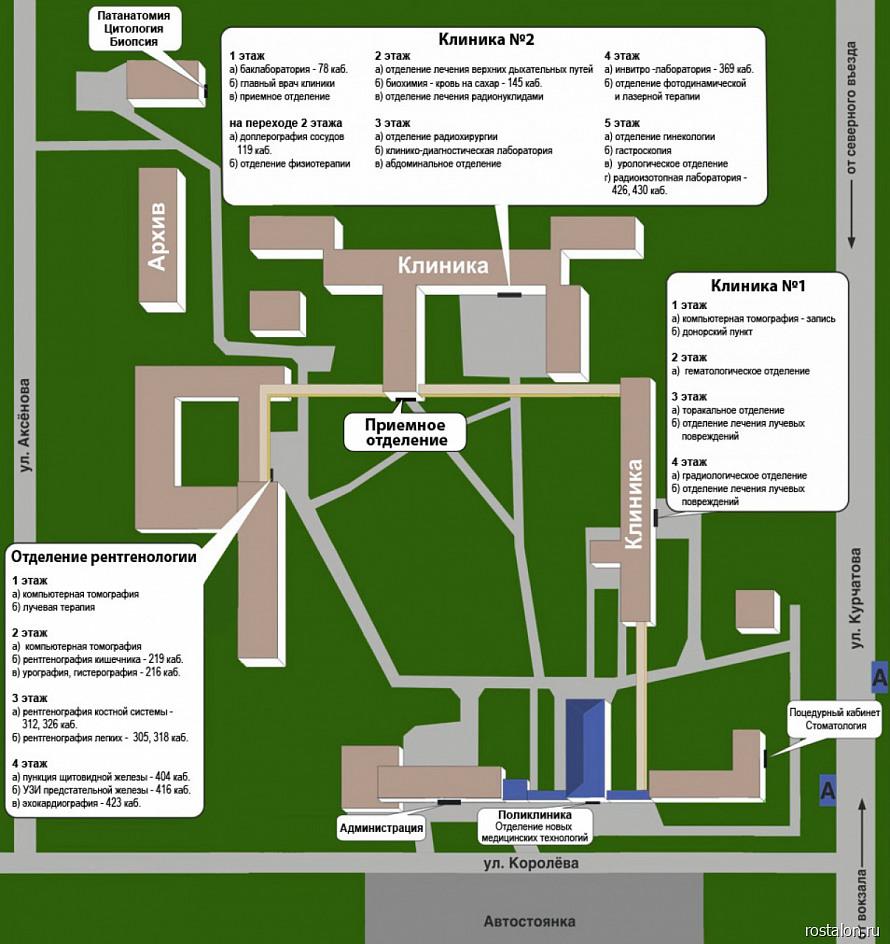 Схема Клинического радиологического сектора онкоцентра в Обнинске